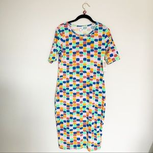 Lularoe Blue Pink Geometric Julia Knit Dress